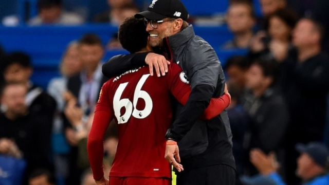 Liverpool defender Trent Alexander-Arnold and manager Jurgen Klopp