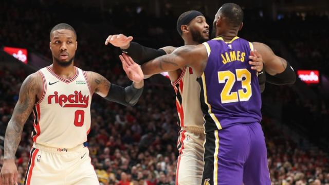 Portland Trail Blazers guard Damian Lillard, Trail Blazers' forward Carmelo Anthony, Los Angeles Lakers forward LeBron James