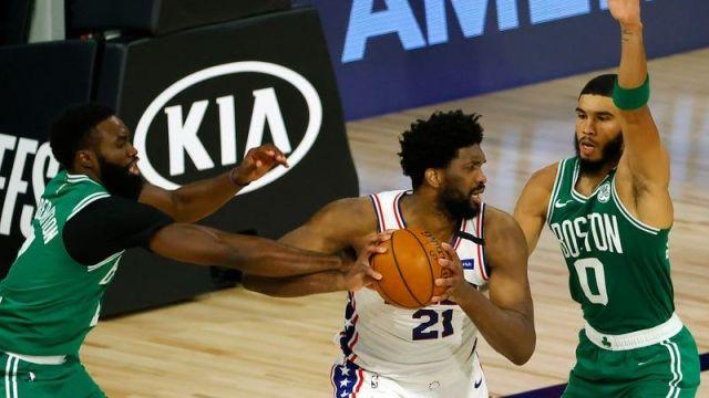 Boston Celtics wing Jaylen Brown, Philadelphia 76ers center Joel Embiid, Boston Celtics wing Jayson Tatum
