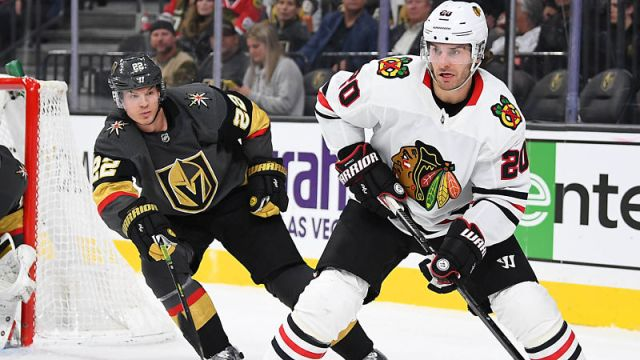 Chicago Blackhawks left wing Brandon Saad and Vegas Golden Knights defenseman Nick Holden
