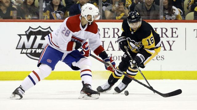 Montreal Canadiens defenseman Marco Scandella and Pittsburgh Penguins left wing Jason Zucker