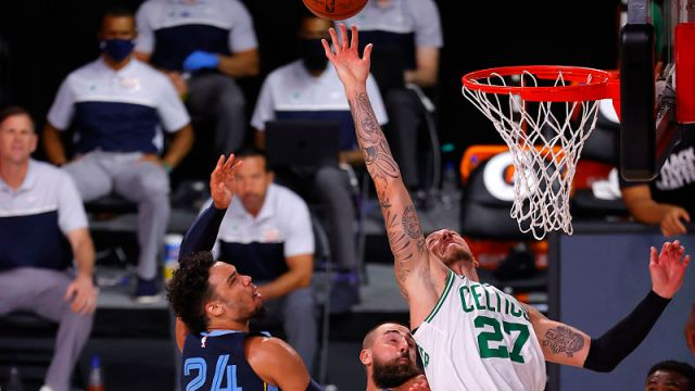 Boston Celtics center Daniel Theis and Memphis Grizzlies shooting guard Dillon Brooks