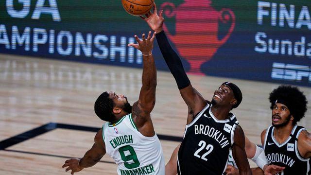 Brooklyn Nets guard Caris LeVert and Boston Celtics guard Brad Wanamaker