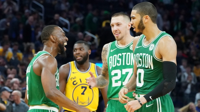 Boston Celtics' Kemba Walker, Jayson Tatum, Daniel Theis