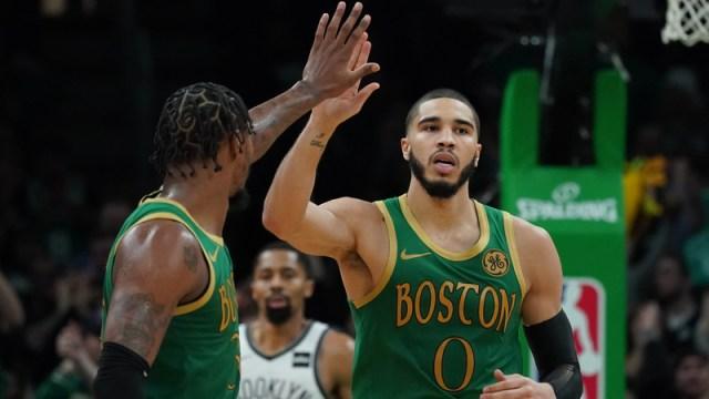 Boston Celtics Jayson Tatum, Marcus Smart