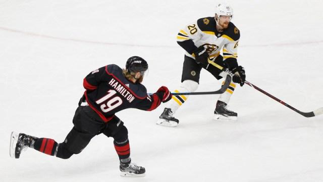 Carolina Hurricanes defenseman Dougie Hamilton, Boston Bruins winger Joakim Nordstrom