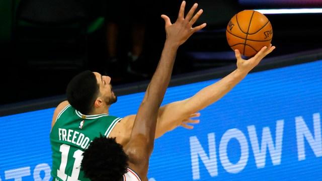 Boston Celtics center Enes Kanter, Philadelphia 76ers center Joel Embiid