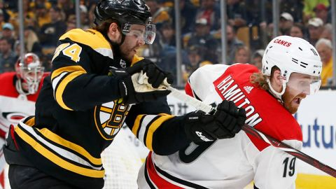 Boston Bruins winger Jake DeBrusk and Carolina Hurricanes defenseman Dougie Hamilton