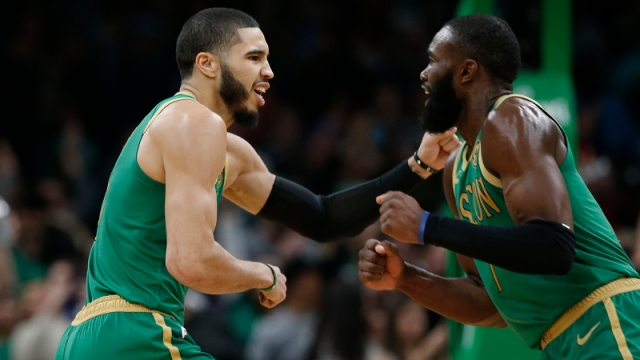 Boston Celtics' Jayson Tatum, Jaylen Brown