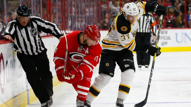 Carolina Hurricanes forward Jordan Staal and Boston Bruins forward Patrice Bergeron
