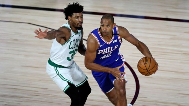 Philadelphia 76ers forward Al Horford and Boston Celtics guard Marcus Smart