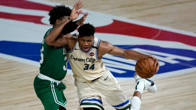 Bucks forward Giannis Antetokounmpo, Celtics guard Marcus Smart