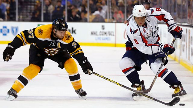 Boston Bruins center Patrice Bergeron and Washington Capitals winger Alex Ovechkin