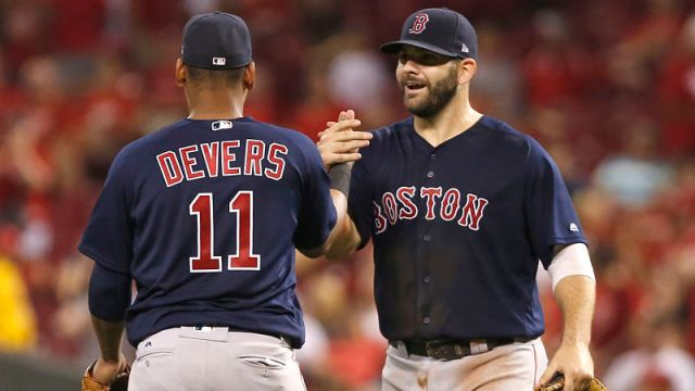 Boston Red Sox third baseman Rafael Devers and first baseman Mitch Moreland