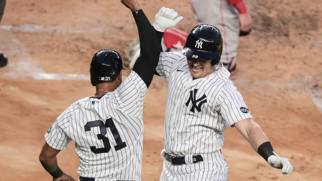 New York Yankees first baseman Luke Voit and center fielder Aaron Hicks