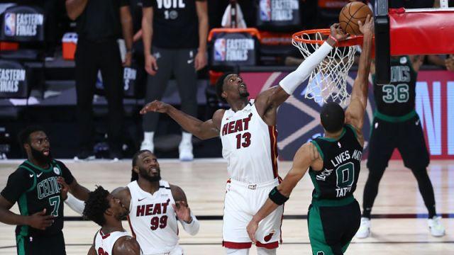 Miami Heat forward Bam Adebayo and Boston Celtics forward Jayson Tatum