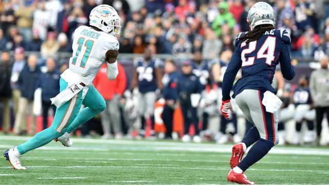 Miami Dolphins wide receiver DeVante Parker and New England Patriots cornerback Stephon Gilmore