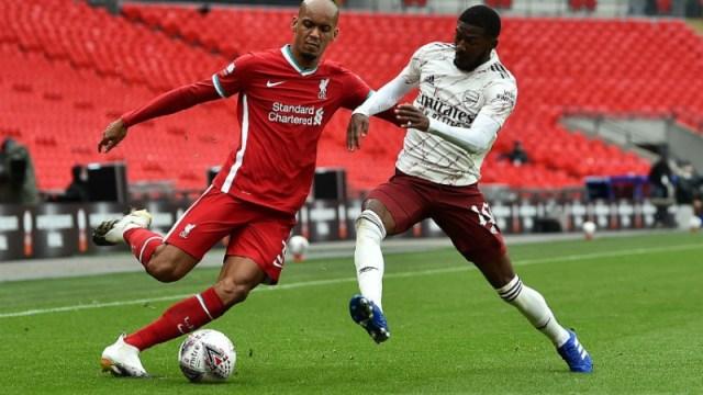 Liverpool midfielder Fabinho (left) and Arsenal forward Nicolas Pepe