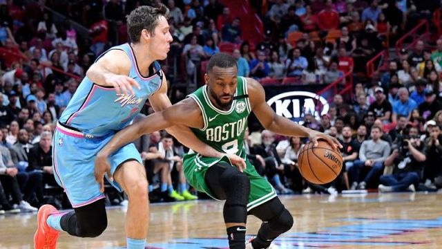 Miami Heat guard Goran Dragic, Boston Celtics guard Kemba Walker