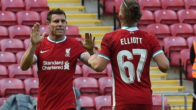 Liverpool midfielder James Milner (left) and forward Harvey Elliot