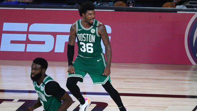 Boston Celtics guards Jaylen Brown and Marcus Smart