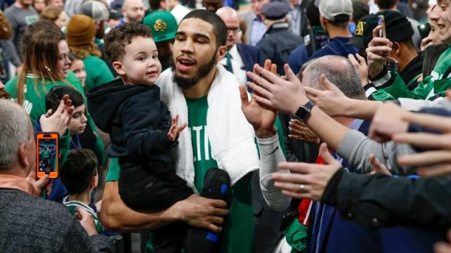 Boston Celtics' Jayson Tatum And Son Deuce