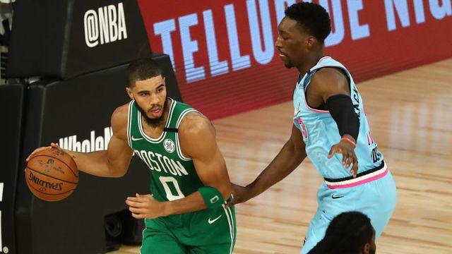 Boston Celtics forward Jayson Tatum and Miami Heat forward Bam Adebayo