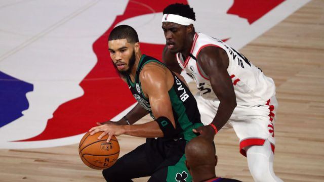 Boston Celtics forward Jayson Tatum and Toronto Raptors forward Pascal Siakam