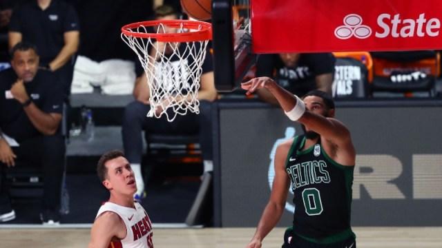 Boston Celtics forward Jayson Tatum (left)