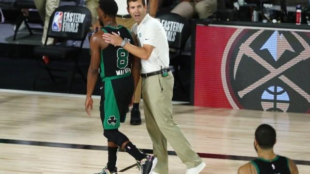 Boston Celtics point guard Kemba Walker and head coach Brad Stevens