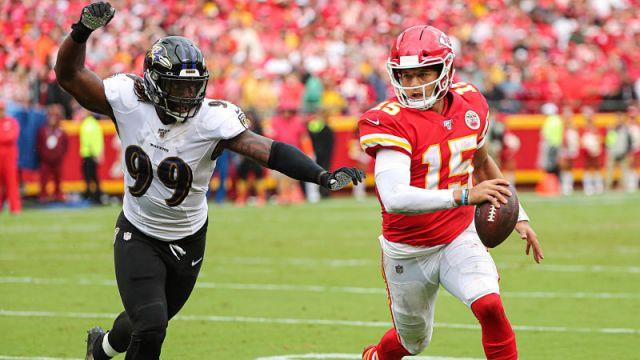 Baltimore Ravens linebacker Matt Judon and Kansas City Chiefs quarterback Patrick Mahomes