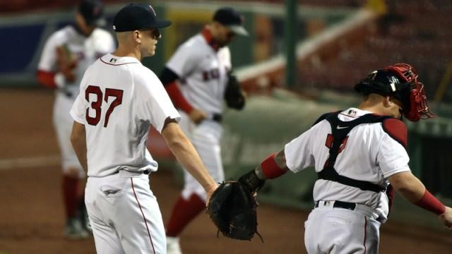 Boston Red Sox Pitcher Nick Pivetta And Catcher Christian Vazquez