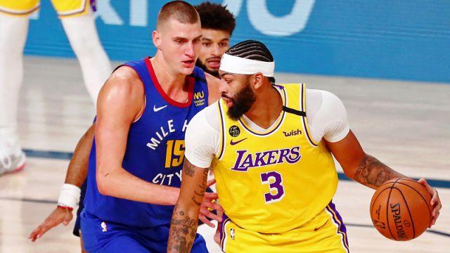 Denver Nuggets center Nikola Jokic and Los Angeles Lakers forward Anthony Davis