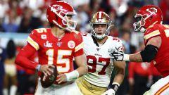 Kansas City Chiefs quarterback Patrick Mahomes and San Francisco 49ers defensive end Nick Bosa
