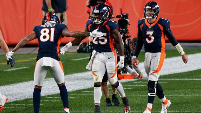 Denver Broncos wide receiver Tim Patrick, running back Melvin Gordon and quarterback Drew Lock