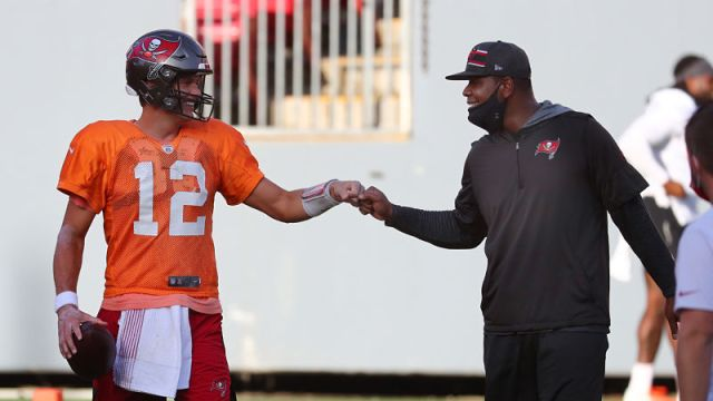 Tampa Bay Buccaneers quarterback Tom Brady and offensive coordinator Byron Leftwich