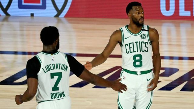Boston Celtics guard Kemba Walker, Boston Celtics guard Jaylen Brown