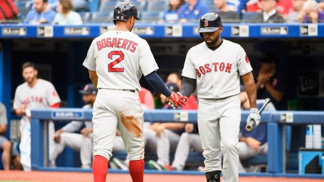 Boston Red Sox's Xander Bogaerts And Jackie Bradley Jr.