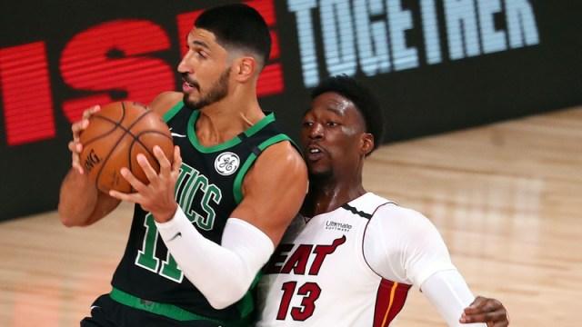 Miami Heat center Bam Adebayo, Boston Celtics center Enes Kanter