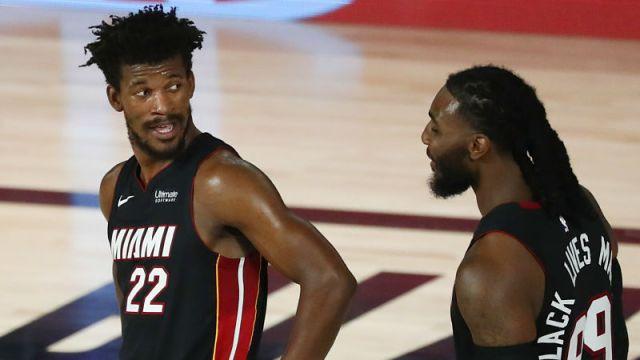 Miami Heat forwards Jimmy Butler and Jae Crowder