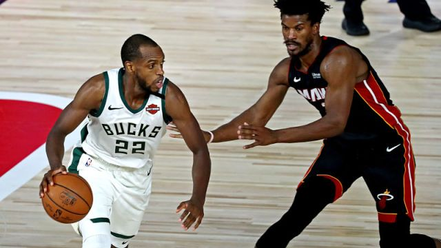 Milwaukee Bucks forward Khris Middleton, Miami Heat guard Jimmy Butler