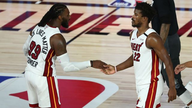 Miami Heat forwards Jimmy Butler and Jae Crowder