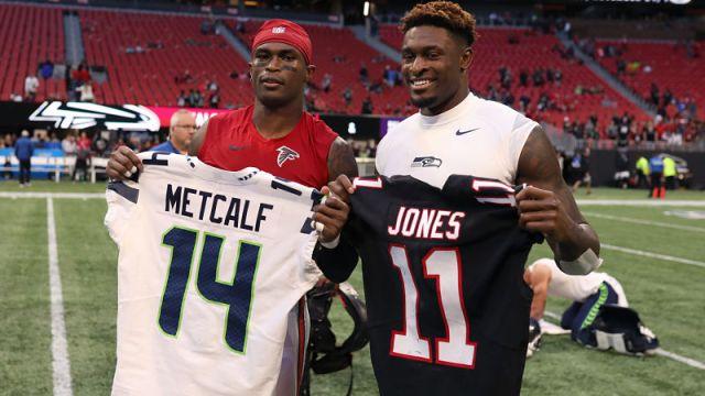 Atlanta Falcons wide receiver Julio Jones and Seattle Seahawks wide receiver D.K. Metcalf