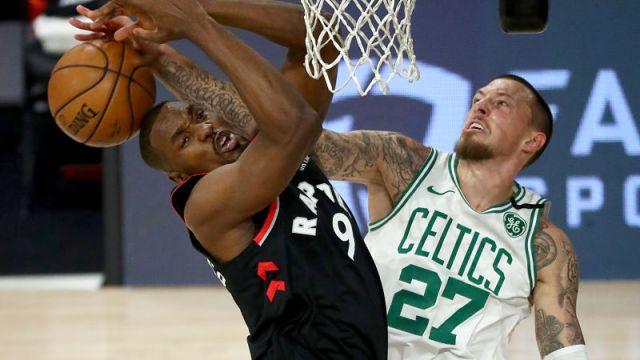Toronto Raptors center Serge Ibaka and Boston Celtics center Daniel Theis