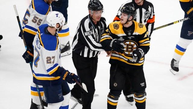 Boston Bruins defenseman Torey Krug, St. Louis Blues defenseman Alex Pietrangelo