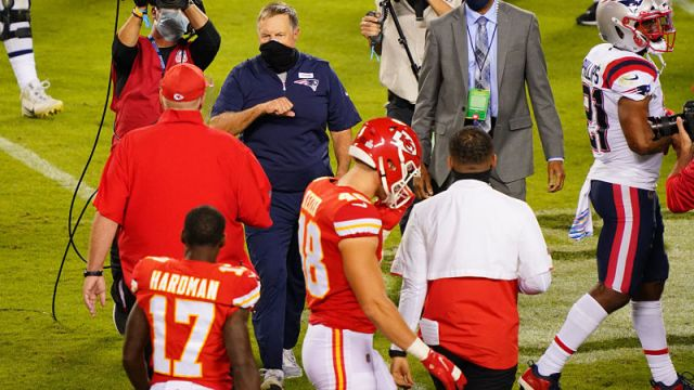Kansas City Chiefs head coach Andy Reid and New England Patriots head coach Bill Belichick