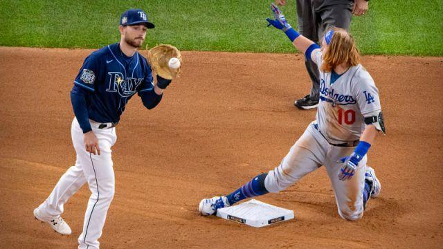 Tampa Bay Rays second baseman Brandon Lowe and Los Angeles Dodgers third baseman Justin Turner