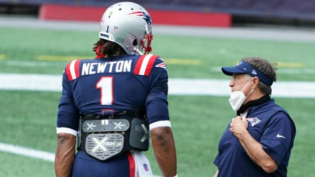 New England Patriots quarterback Cam Newton and head coach Bill Belichick