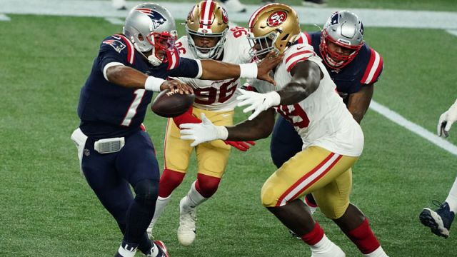 New England Patriots quarterback Cam Newton and San Francisco 49ers defensive tackle Javon Kinlaw
