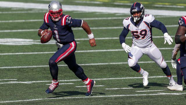 New England Patriots quarterback Cam Newton and Denver Broncos linebacker Malik Reed